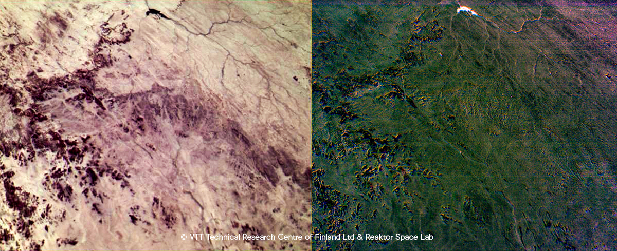 False colour images of desert highland in southern Sahara.